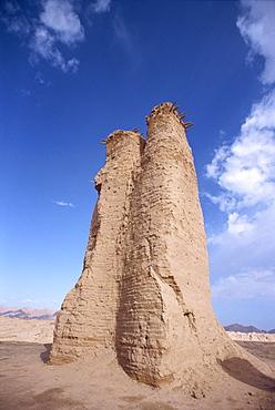 Tang dynasty watch tower at Kuqa ancient city in Xinjiang, China, Asia
