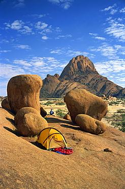 Campsite at Spitzkoppe mountains, Damaraland, Namibia, Africa