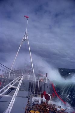 RRS Bransfield in rough seas, Antarctica, Polar Regions