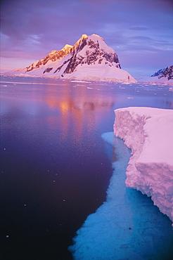 Alpenglow at midnight, Antarctic Peninsula, Antarctica