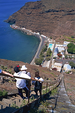 The town and harbour from Jacob's Ladder, Jamestown, St. Helena, Mid Atlantic