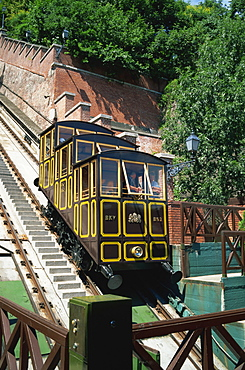 Funicular railway up Castle Hill from Clark Adam Square, Budapest, Hungary, Europe