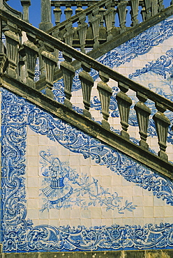 Detail of external staircase decorated with azulejos (tiles), paco or manor house of Counts of Estoi, Estoi, Algarve, Portugal, Europe