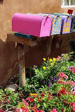 Mail boxes, Santa Fe, New Mexico, United States of America, North America