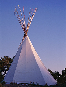 Storyteller's teepee at sunset, Wheelwright Museum, Santa Fe, New Mexico, United States of America (U.S.A.), North America