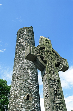 West High Cross and 10th century tower, Monasterboice, County Louth, Leinster, Republic of Ireland (Eire), Europe
