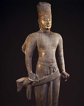 Stone statue of Vishnu, dating from between 7th and 9th centuries AD, National Museum, Bangkok, Thailand, Southeast Asia, Asia