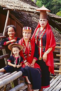 Portrait of a Bidayu family in traditional dress, cultural village, Sarawak, island of Borneo, Malaysia, Southeast Asia, Asia