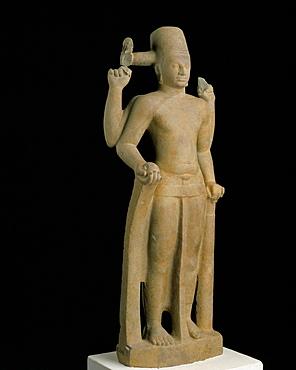 Statue of the Hindu god Vishnu, from Phum Tuol, Khmer art dating from the 7th century, Prei Kruk, National Musueum, Phnom Penh, Cambodia, Indochina, Southeast Asia, Asia