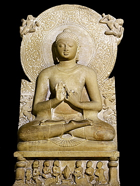 Buddha sculpture dating from the Gupta period in the 5th century, from Sarnath Museum, Uttar Pradash, India, Asia