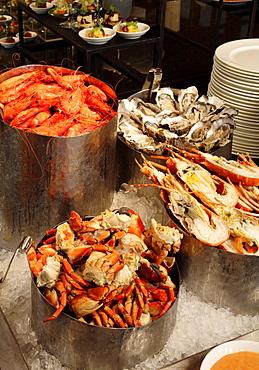 Various seafood on ice