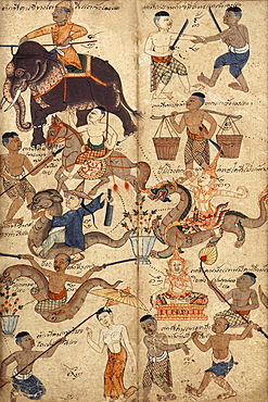 Thai manuscript on astrology dating from 1910-1940, Private collection, Bangkok Thailand, Southeast Asia, Asia