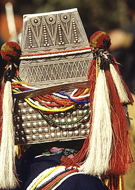 Headgear of Akha Hill Tribe woman, Northern Thailand, Southeast Asia, Asia