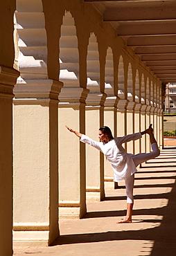 Yoga inside the courtyard of Mysore Palace, Karnataka, India, Asia