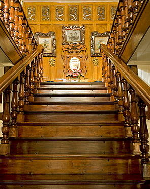Staircase of Borja residence, an art nouveau Filipino style residence dating from 1920, Malabon, Metro Manila, Philippines, Southeast Asia Asia
