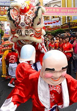 Lion dance, Chinatown, Bangkok, Thailand, Southeast Asia, Asia