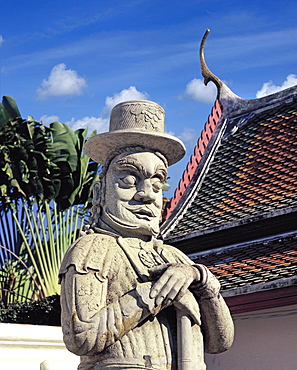 Guardian figure with European hat at Wat Pho (Wat Phra Chetuphon), early Rattanakosin period, Bangkok, Thailand, Southeast Asia, Asia