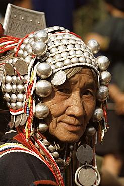 Portrait of an Akha hill tribe woman, Chiang Rai, Thailand, Southeast Asia, Asia