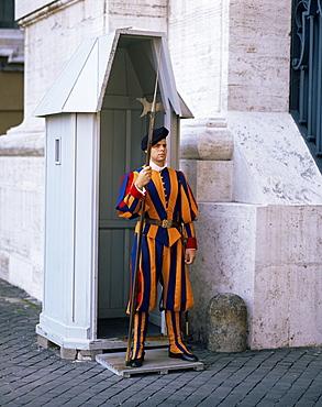Swiss Guard at the Vatican, Rome, Lazio, Italy, Europe