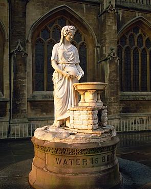 Statue outside Bath Abbey, Bath, Avon, England, United Kingdom, Europe