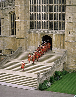 Yeoman warders at St. George's Chapel, Windsor, Berkshire, England, United Kingdom, Europe