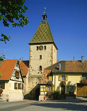 Gateway and clock tower, Bergheim, Alsace, France, Europe