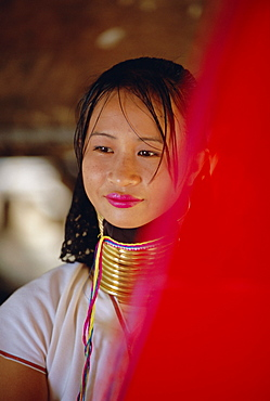 Portrait of a long necked Padaung tribe woman, Mae Hong Son Province, Thailand, AsiaThe women of the Padaung hill tribe wear heavy brass ornaments around their neck and limbs. These ornaments look like separate rings but are really a continuous coil of brass that can weigh anywhere from five to twenty-two kilograms and measure up to 30 meter in length. The quantity of visual rings (in reality, the length of the brass coil) is increased every year, according to the age of the woman.