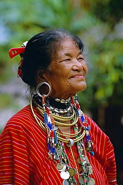 Portrait of a 'Big ears' Padaung tribe woman in Nai Soi, Mae Hong Son Province, Thailand, Asia