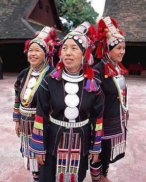 Portrait of three Akha hill tribe women in traditional dress, Chiang Mai, northern Thailand, Thailand, Southeast Asia, Asia