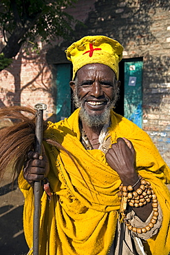 Portait of a Holy man on pilgrimage in Gonder, Gonder, Ethiopia, Africa