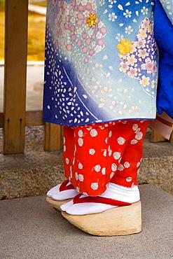 Maiko (apprentice geisha) wearing traditional Japanese kimono and okobo (tall wooden shoes), Kyoto, Kansai region, island of Honshu, Japan, Asia