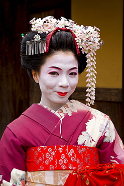 Portrait of a maiko (apprentice geisha) wearing traditional Japanese kimono, in the Gion district, Kyoto, Kansai region, island of Honshu, Japan, Asia