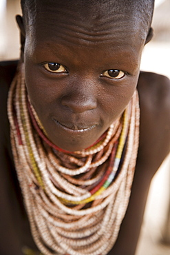 Portrait of a Karo girl, Lower Omo Valley, Ethiopia, Africa