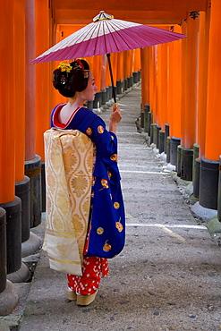 Portrait of a geisha holding an ornate umbrella at Fushimi-Inari Taisha shrine, which is lined with hundreds of red torii gates, Kyoto, Kansai region, Honshu, Japan, Asia
