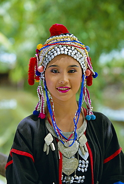 Portrait of an Akha hill tribe woman in traditional clothing, Mae Hong Son Province, northern Thailand, Asia