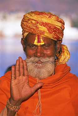Portrait of a holy man at the annual Hindu pilgrimage to holy Pushkar Lake, Rajasthan State, India, Asia