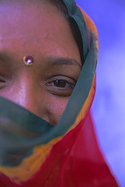 Portrait of a local woman in the 'Blue City', Jodhpur, Rajasthan State, India, Asia