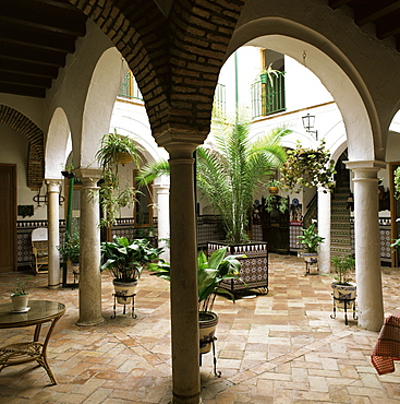 Courtyard of a traditional house, Carmona, Andalucia, Spain, Europe