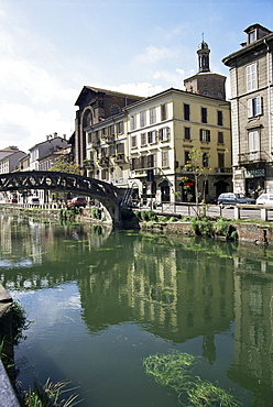 Canal at Porta Ticinese, Naviglio Grande, Milan, Lombardy, Italy, Europe