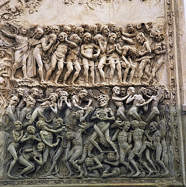 Bas reliefs of episodes from the Testament by Martini and pupils dating from the 14th century, Orvieto Cathedral, Orvieto, Umbria, Italy, Europe