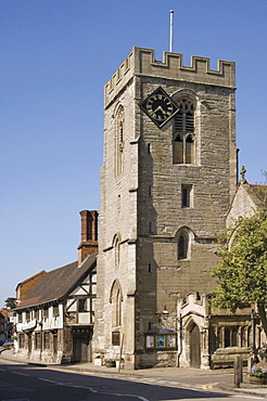 Medieval Tudor guildhall and church of St. John the Baptist, High Street, Henley in Arden, Warwickshire, Midlands, England, United Kingdom, Europe