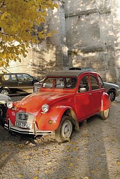 Citroen Diane parked outside church, St. Omer, Pas de Calais, France, Europe
