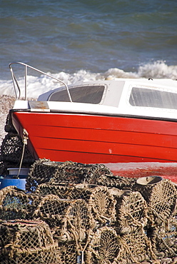 Fishing boat, Budleigh Salterton, Jurassic Coast, Devon, England, United Kingdom, Europe