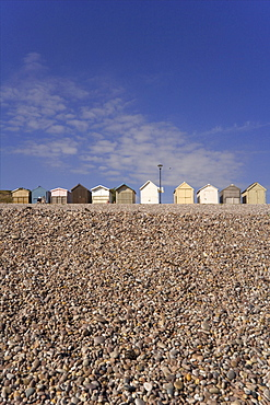 Beach huts, Budleigh Salterton, Jurassic Coast, Devon, England, United Kingdom, Europe