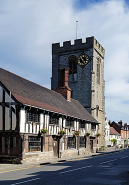 Medieval Tudor Guildhall and church of St. John the Baptist, High Street, Henley in Arden, Warwickshire, England, United Kingdom, Europe