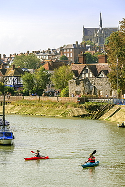 Boats moored on the River Arun, Arundel, West Sussex, England, United Kingdom, Europe