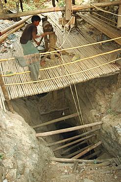 Vein mine 300 metres deep, Mogok ruby mines, near Mandalay, Myanmar (Burma), Asia