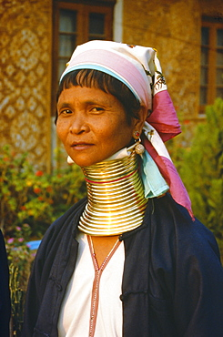 Padaung woman, 'giraffe-neck' woman with brass rings which depress the collarbone, Kayah State, Myanmar (Burma)