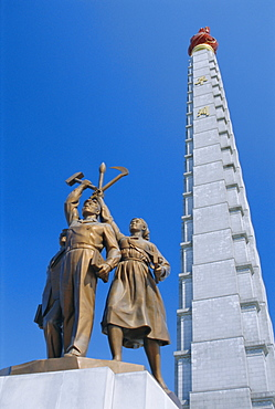 Tower of Juche, ideal exhorting the non-dependance on others, Pyongyang, North Korea, Asia