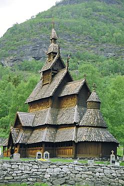 Stave church, Borgund, Western Fjordlands, Norway, Scandinavia, Europe